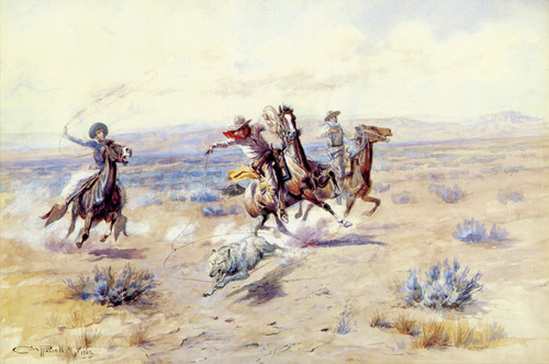 Art Prints of Roping a Wolf, No. 3, 1902 by Charles Marion Russell