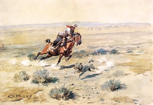 Art Prints of Roping a Wolf, No. 5, 1901 by Charles Marion Russell