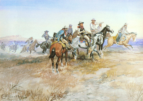 Art Prints of Start of the Round Up by Charles Marion Russell