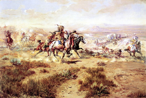 Art Prints of The Attack on the Wagon Train by Charles Marion Russell