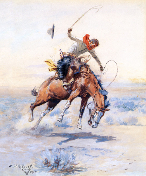 Art Prints of The Bucker, 1904 by Charles Marion Russell