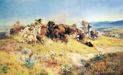 Art Prints of The Buffalo Hunt, No. 40 by Charles Marion Russell