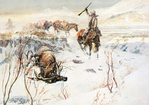Art Prints of The Prize Shot by Charles Marion Russell