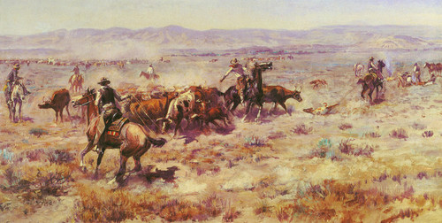 Art Prints of The Round Up, 1913 by Charles Marion Russell