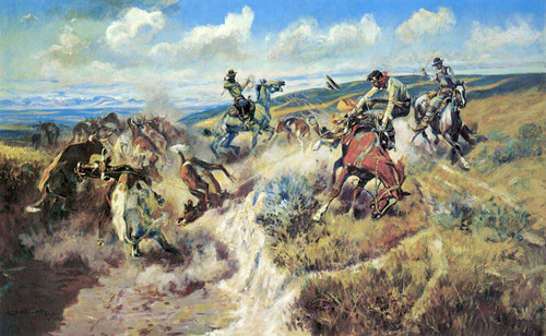 Art Prints of The Tight Dally and a Loose Latigo by Charles Marion Russell