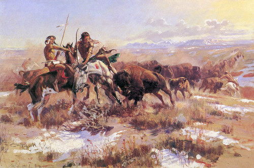 Art Prints of The Wounded Buffalo by Charles Marion Russell