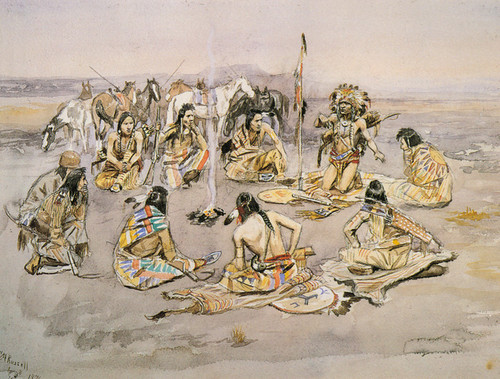 Art Prints of War Council, 1896 by Charles Marion Russell