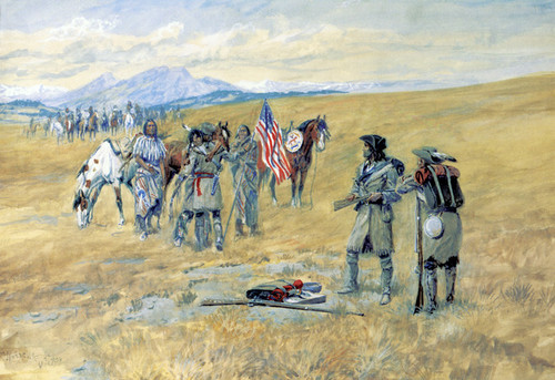 Art Prints of I Advanced Toward Them with the Flag by Charles Marion Russell