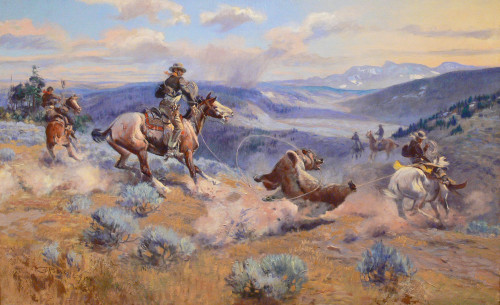 Art Prints of Loops and Swift Horses are Surer than Lead by Charles Marion Russell