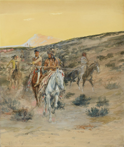 Art Prints of An Old Time Hunting Party, 1904 by Charles Marion Russell