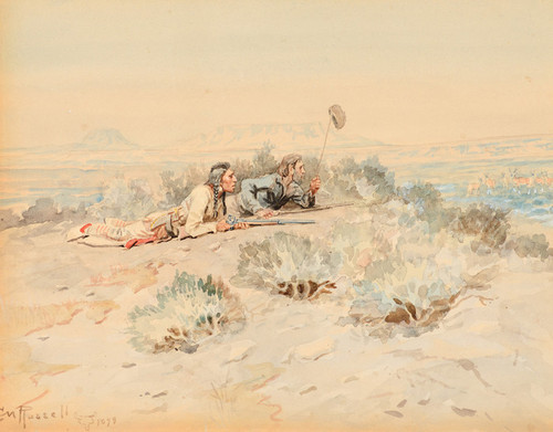 Art Prints of Flagging Antelope by Charles Marion Russell