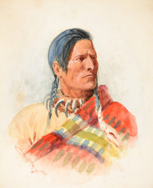 Art Prints of Indian Portrait by Charles Marion Russell