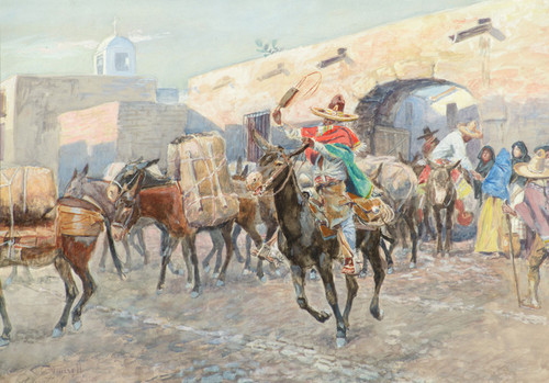 Art Prints of Mexicans Leaving an Inn by Charles Marion Russell