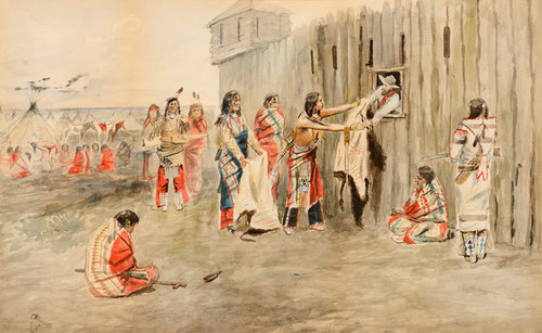 Art Prints of The Trading Post, 1891 by Charles Marion Russell