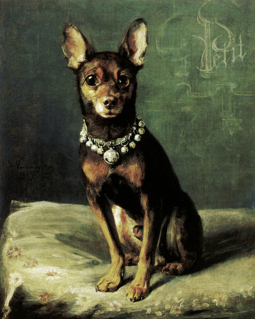 Art Prints of A Dog on a Cushion, Black and Tan Terrier by Charles Van den Eycken