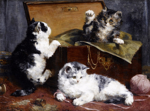 Art Prints of Kittens at Play by Charles Van den Eycken