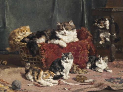 Art Prints of Playtime, Kittens by Charles Van den Eycken