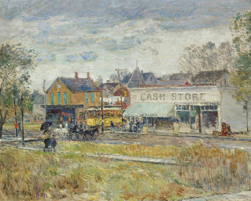 Art Prints of End of the Trolley Line, Oak Park, Illinois by Childe Hassam