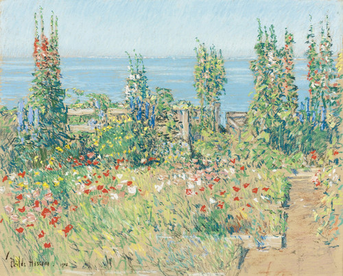 Art Prints of Hollyhocks, Isle of Shoals by Childe Hassam