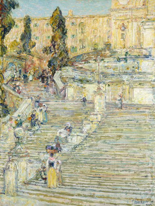 Art Prints of The Spanish Stairs, Rome by Childe Hassam