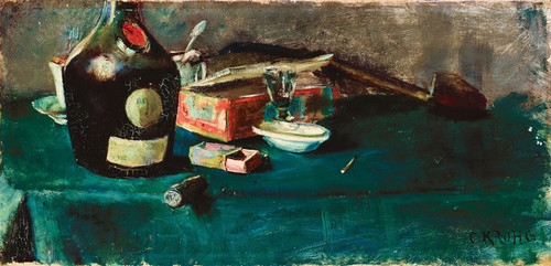 Art Prints of Still Life with D.O.M. Bottle by Christian Krohg