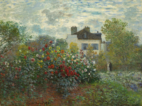 Art Prints of Artist's Garden in Argenteuil, Corner with Dahlias by Claude Monet