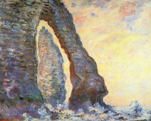 Art Prints of The Rock Needle Seen through the Porte-d-Aval by Claude Monet