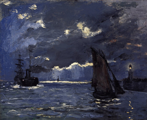 Art Prints of A Seascape, Shipping by Moonlight by Claude Monet
