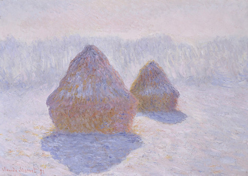 Art Prints of Haystacks, Effect of Snow and Sun by Claude Monet