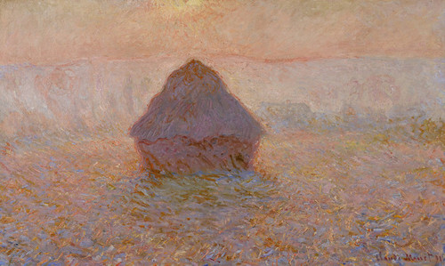 Art Prints of Grainstack, Sun in the Mist by Claude Monet