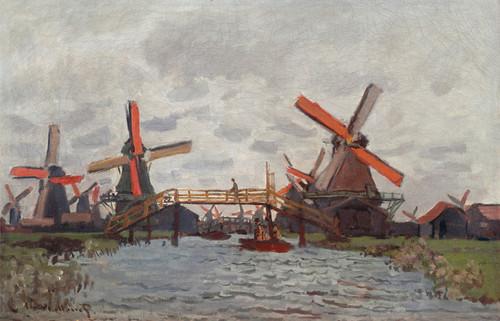 Art Prints of Mills at Westzijderveld near Zaandam by Claude Monet