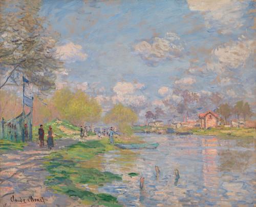 Art Prints of Spring by the Seine by Claude Monet