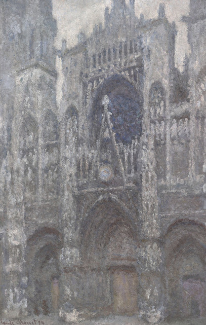 Art Prints of The Cathedral in Rouen, the Portal, Grey Weather by Claude Monet