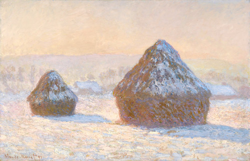 Art Prints of Wheatstacks, Snow Effect, Morning by Claude Monet