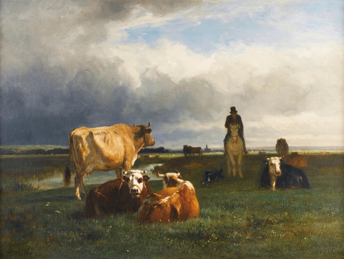 Art Prints of Pastures in the Valley of Toucque by Constant Troyon
