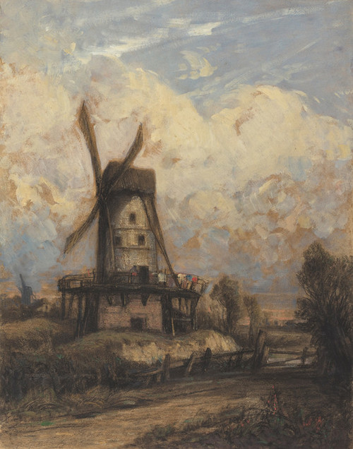 Art Prints of A Windmill Against a Cloudy Sky by Constant Troyon