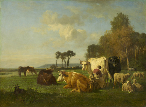 Art Prints of Cattle and Sheep in a Landscape by Constant Troyon