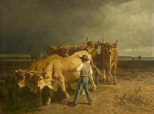 Art Prints of Oxen Plowing by Constant Troyon
