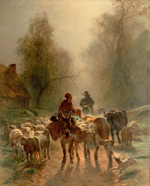 Art Prints of On the Way to the Market by Constant Troyon