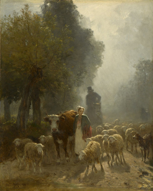 Art Prints of Going to Market on a Misty Morning by Constant Troyon