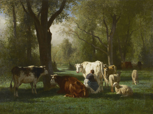 Art Prints of Landscape with Cattle and Sheep by Constant Troyon