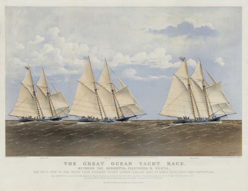 Art Prints of Great Ocean Yacht Race, Henrietta Fleetwing and Vesta by Currier & Ives