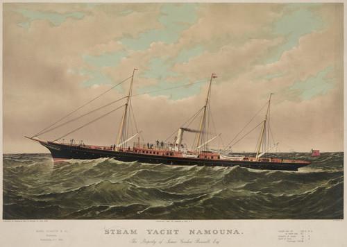 Art Prints of Steam Yacht Namouna at Newburgh, N.Y. by Currier & Ives