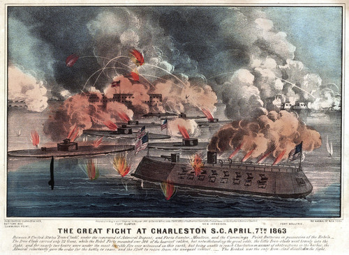 Art Prints of Great Fight at Charleston, South Carolina by Currier & Ives