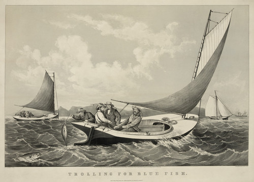 Art Prints of Trolling for Blue Fish by Currier & Ives