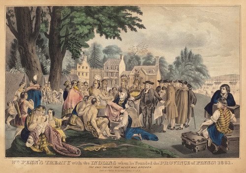 Art Prints of William Penn's Treaty with the Indians by Currier & Ives