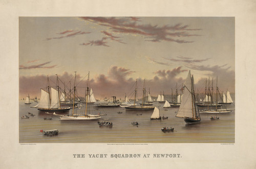 Art Prints of The Yacht Squadron at Newport (L-378646) by Currier & Ives