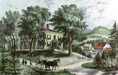 Art Prints of A New England Home by Currier & Ives
