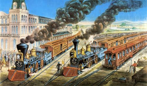 Art Prints of American Railway Scene, Hornellsville, Erie Railway by Currier & Ives