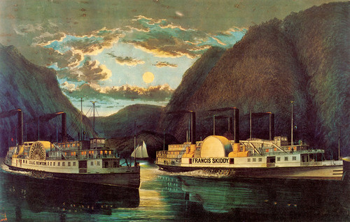 Art Prints of A Night on the Hudson Through at Daylight by Currier & Ives